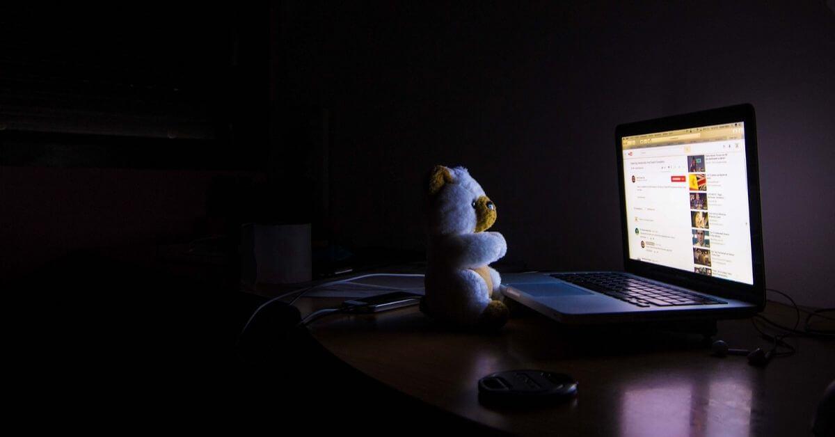 insonnia, orsetto, notte, computer